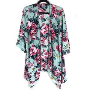Blue floral lightweight kimono R1